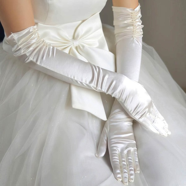 White Elastic Satin Opera Length Gloves