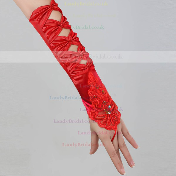 White Elastic Satin Elbow Length Gloves with Beading/Sequins