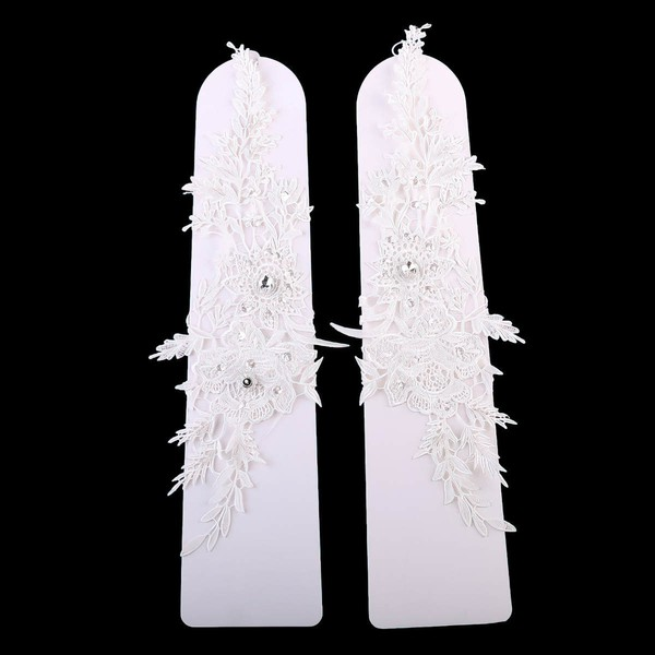 White Lace Wrist Length Gloves with Beading #LDB03120032