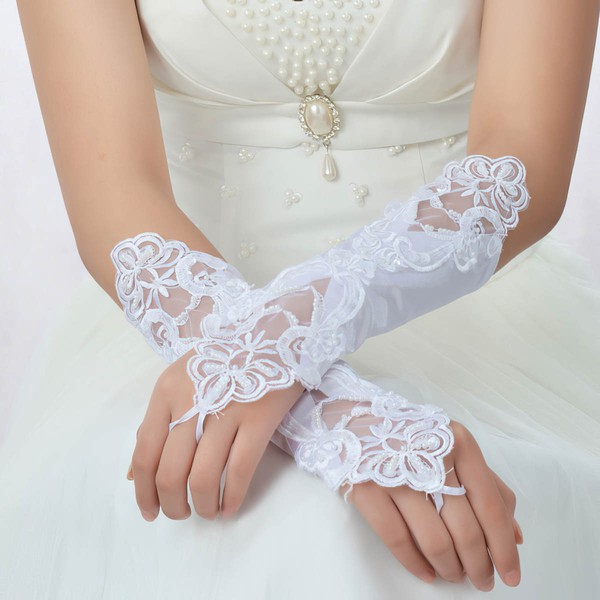 White Lace Elbow Length Gloves with Pearls #LDB03120034