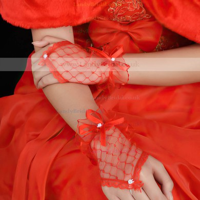 White Tulle Wrist Length Gloves with Bow #LDB03120035