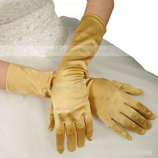 Ivory Elastic Satin Opera Length Gloves