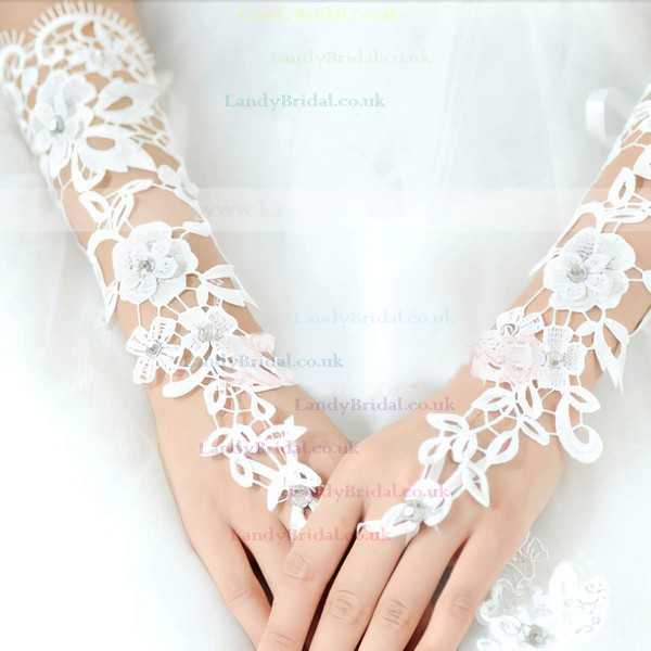Ivory Lace Elbow Length Gloves with Beading