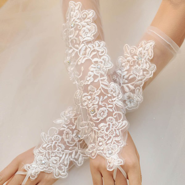 White Tulle Elbow Length Gloves with Beading/Appliques