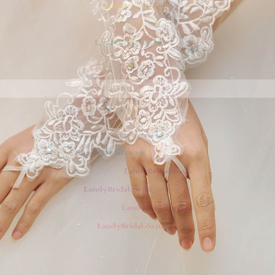 White Tulle Elbow Length Gloves with Beading/Appliques #LDB03120038