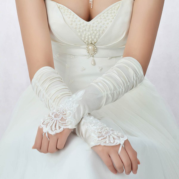 White Elastic Satin Elbow Length Gloves with Lace/Beading/Sequins