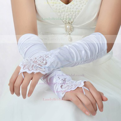 White Elastic Satin Elbow Length Gloves with Lace/Beading/Sequins #LDB03120039