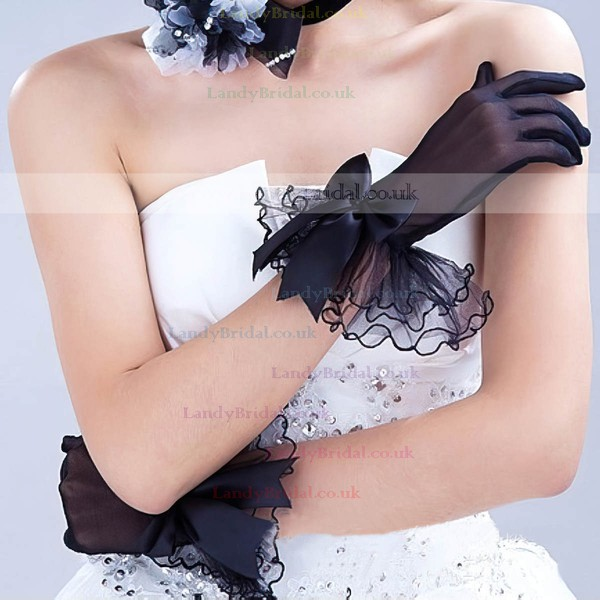 Black Organza Wrist Length Gloves with Lace/Bow #LDB03120040
