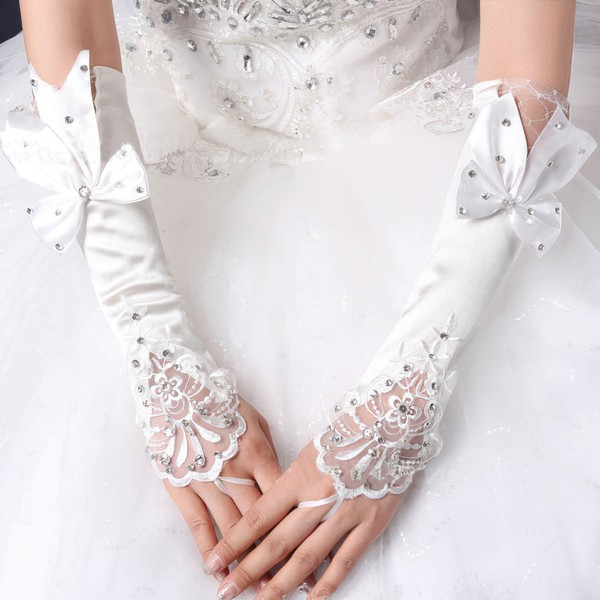 White Elastic Satin Elbow Length Gloves with Lace/Bow/Rhinestone