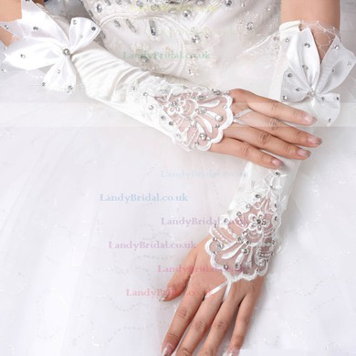 White Elastic Satin Elbow Length Gloves with Lace/Bow/Rhinestone #LDB03120041