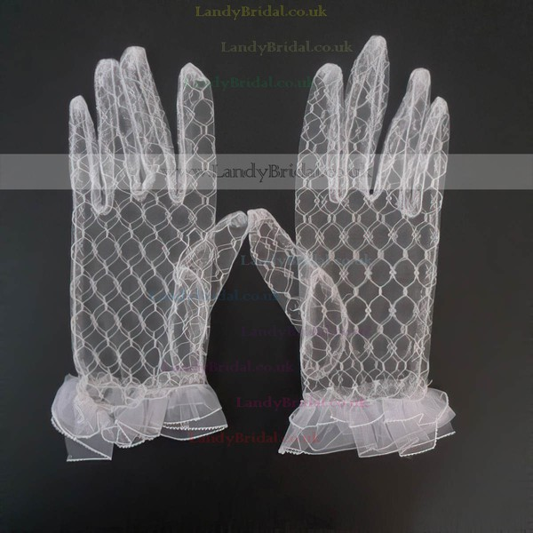 White Tulle Wrist Length Gloves with Ruffles