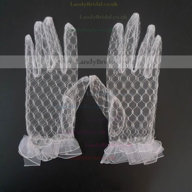 White Tulle Wrist Length Gloves with Ruffles #LDB03120042