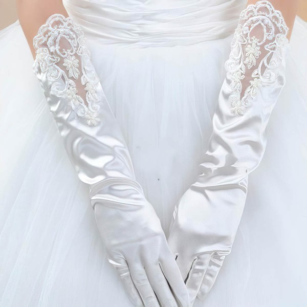 White Elastic Satin Elbow Length Gloves with Lace #LDB03120043
