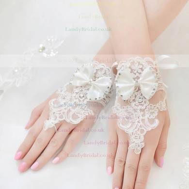 Ivory Lace Wrist Length Gloves with Bow/Beading #LDB03120044
