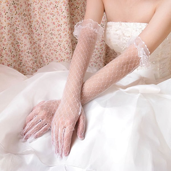 White Tulle Opera Length Gloves with Lace #LDB03120045