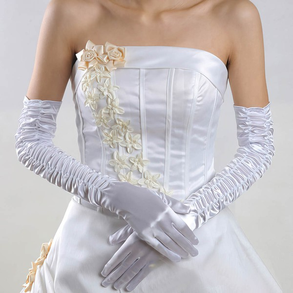 White Elastic Satin Opera Length Gloves with Ruched