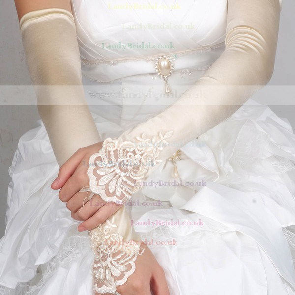 White Elastic Satin Opera Length Gloves with Lace