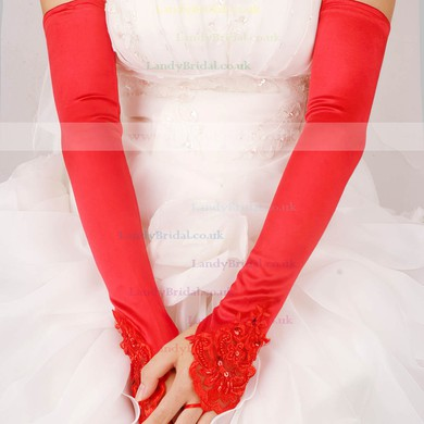 White Elastic Satin Opera Length Gloves with Lace #LDB03120047
