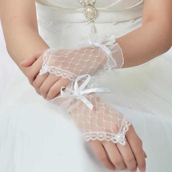 Ivory Tulle Wrist Length Gloves with Lace/Pearls/Bow #LDB03120048