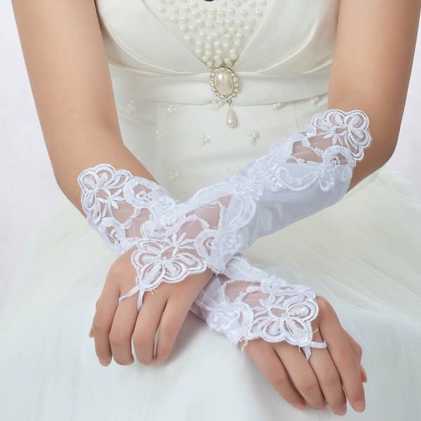 White Lace Elbow Length Gloves with Pearls #LDB03120049