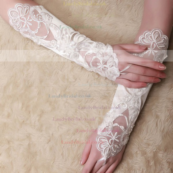 White Lace Elbow Length Gloves with Pearls