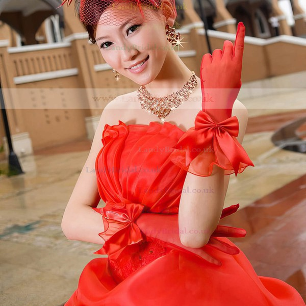Red Tulle Wrist Length Gloves with Bow #LDB03120050