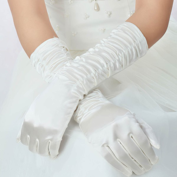 White Elastic Satin Elbow Length Gloves with Ruched