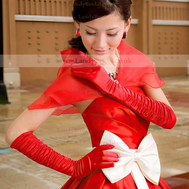White Elastic Satin Elbow Length Gloves with Ruched #LDB03120051