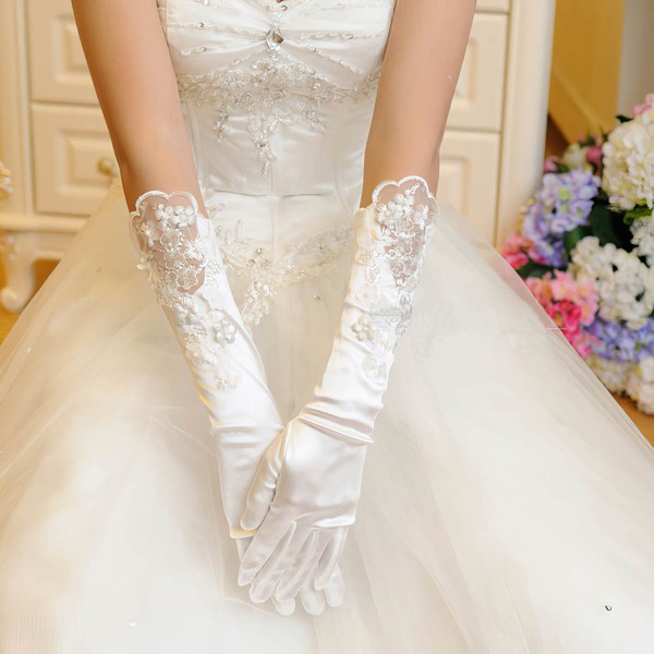 Ivory Elastic Satin Elbow Length Gloves with Appliques/Lace