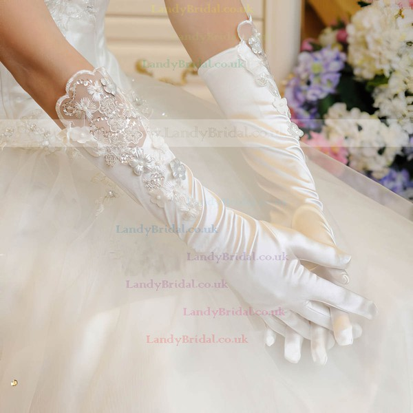 Ivory Elastic Satin Elbow Length Gloves with Appliques/Lace #LDB03120053