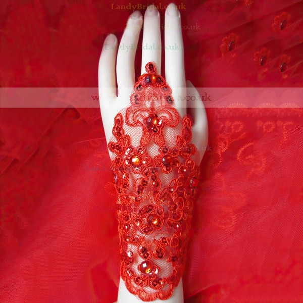 Red Lace Wrist Length Gloves with Sequins