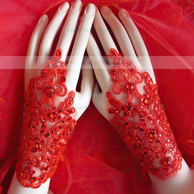 Red Lace Wrist Length Gloves with Sequins #LDB03120054