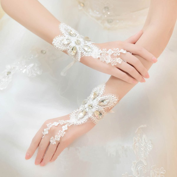 Ivory Lace Wrist Length Gloves with Rhinestone #LDB03120055