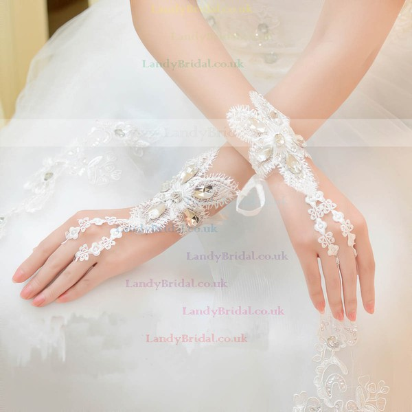 Ivory Lace Wrist Length Gloves with Rhinestone