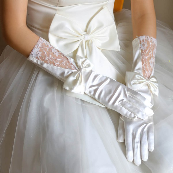 White Elastic Satin Elbow Length Gloves with Lace/Bow