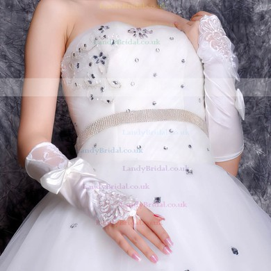 White Elastic Satin Elbow Length Gloves with Lace/Bow/Beading #LDB03120057