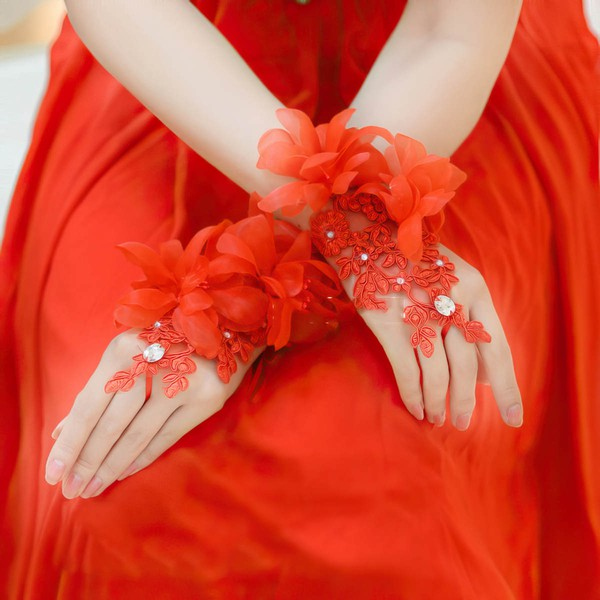 Red Lace Wrist Length Gloves with Rhinestone