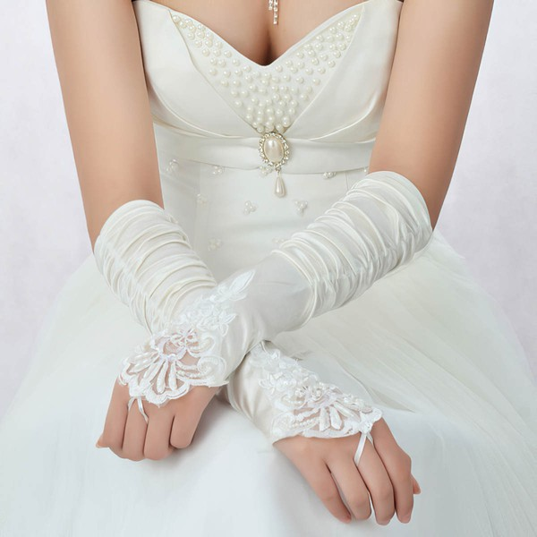 White Elastic Satin Elbow Length Gloves with Lace/Beading