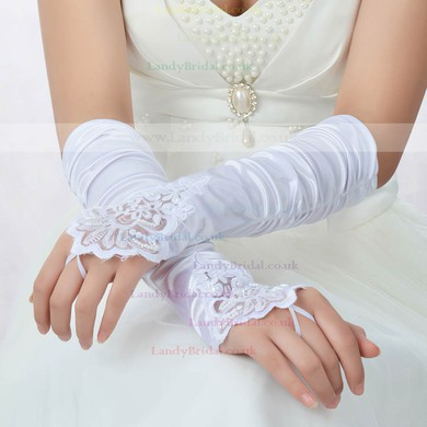 White Elastic Satin Elbow Length Gloves with Lace/Beading #LDB03120059