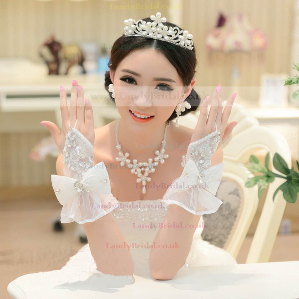 Ivory Lace Wrist Length Gloves with Bow/Rhinestone #LDB03120061