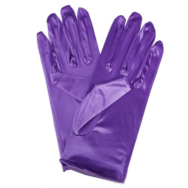 Red Elastic Satin Wrist Length Gloves #LDB03120062