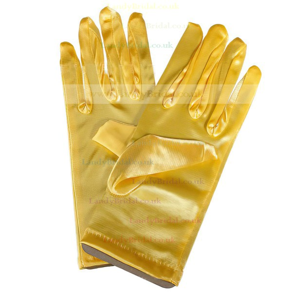 Red Elastic Satin Wrist Length Gloves