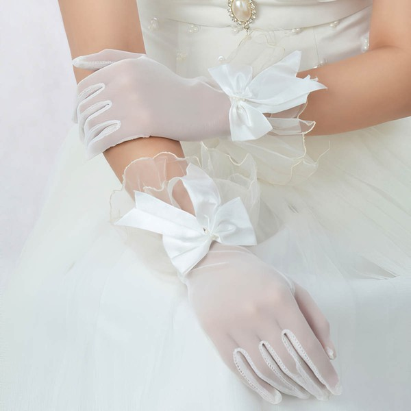 Ivory Tulle Wrist Length Gloves with Bow #LDB03120063