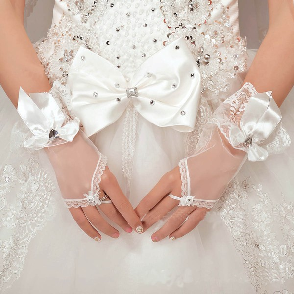 Ivory Tulle Wrist Length Gloves with Rhinestone/Bow #LDB03120064
