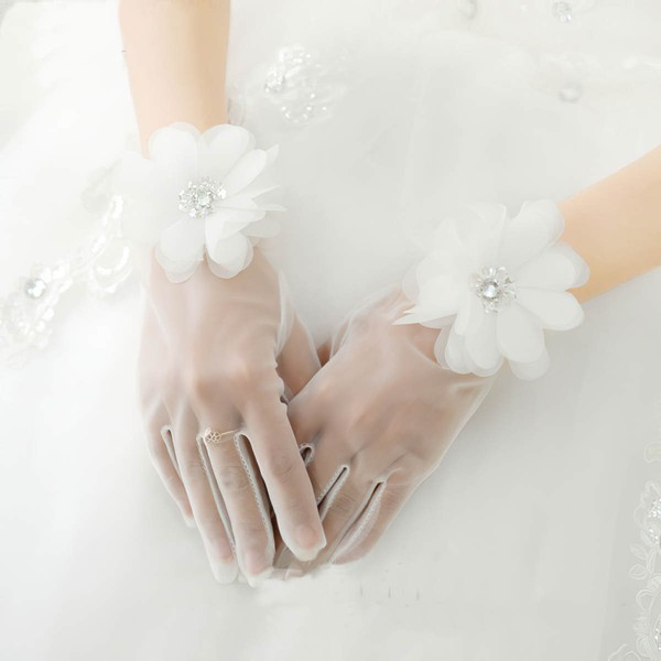 Ivory Organza Wrist Length Gloves with Rhinestone/Lace Flower #LDB03120066