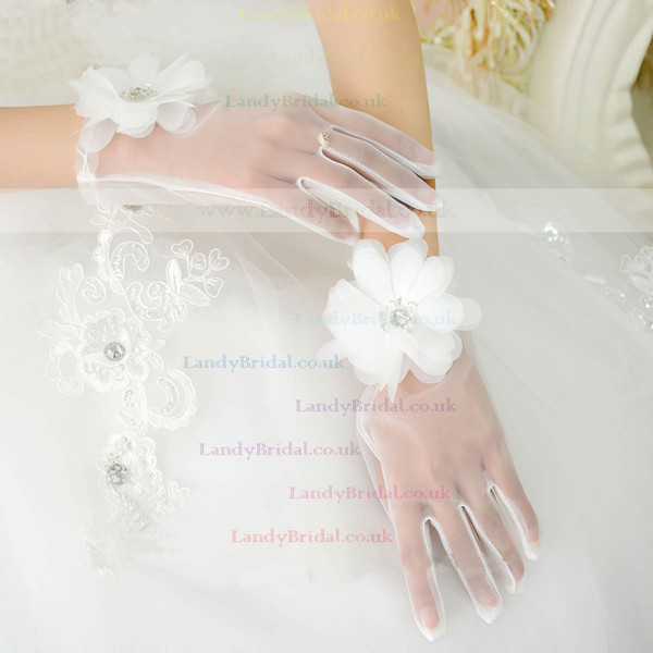 Ivory Organza Wrist Length Gloves with Rhinestone/Lace Flower