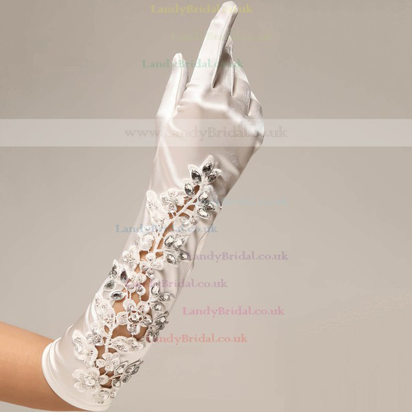 Ivory Elastic Satin Elbow Length Gloves with Rhinestone/Appliques