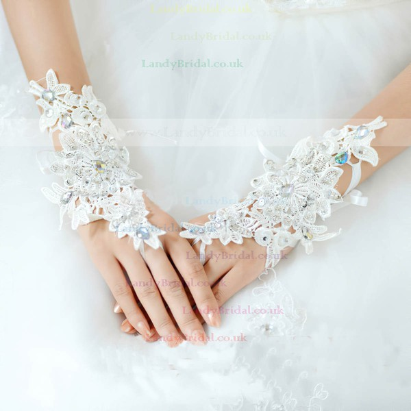 Ivory Lace Wrist Length Gloves with Lace/Rhinestone