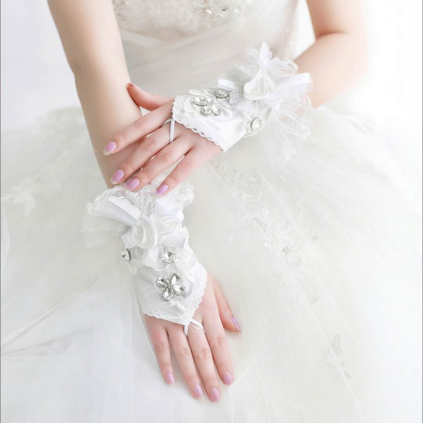 Ivory Lace Wrist Length Gloves with Lace/Rhinestone #LDB03120069