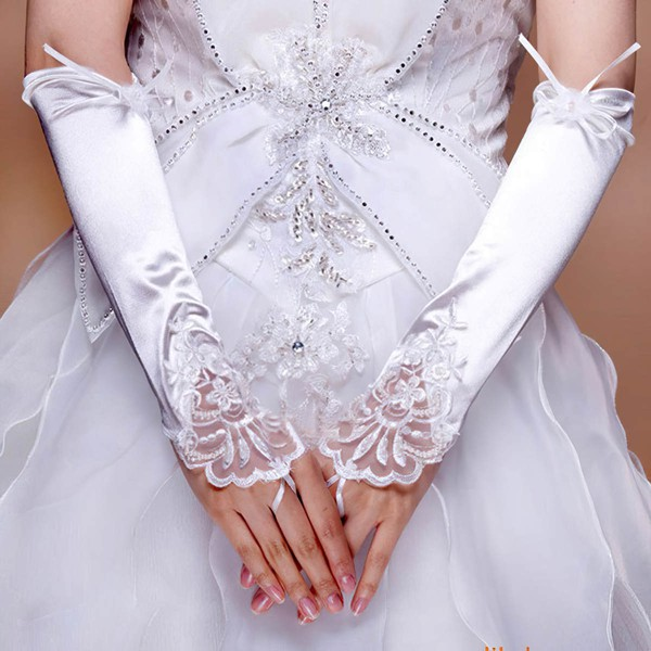 White Elastic Satin Elbow Length Gloves with Lace/Sequins #LDB03120070